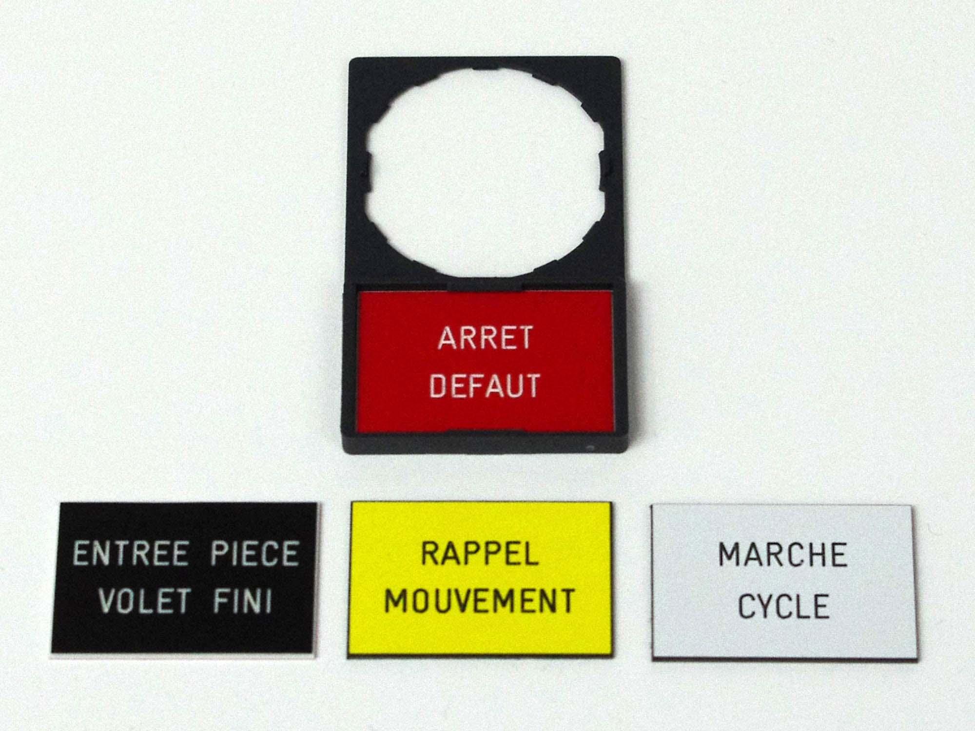 Etiquettes télémécanique 30x50 avec porte étiquettes