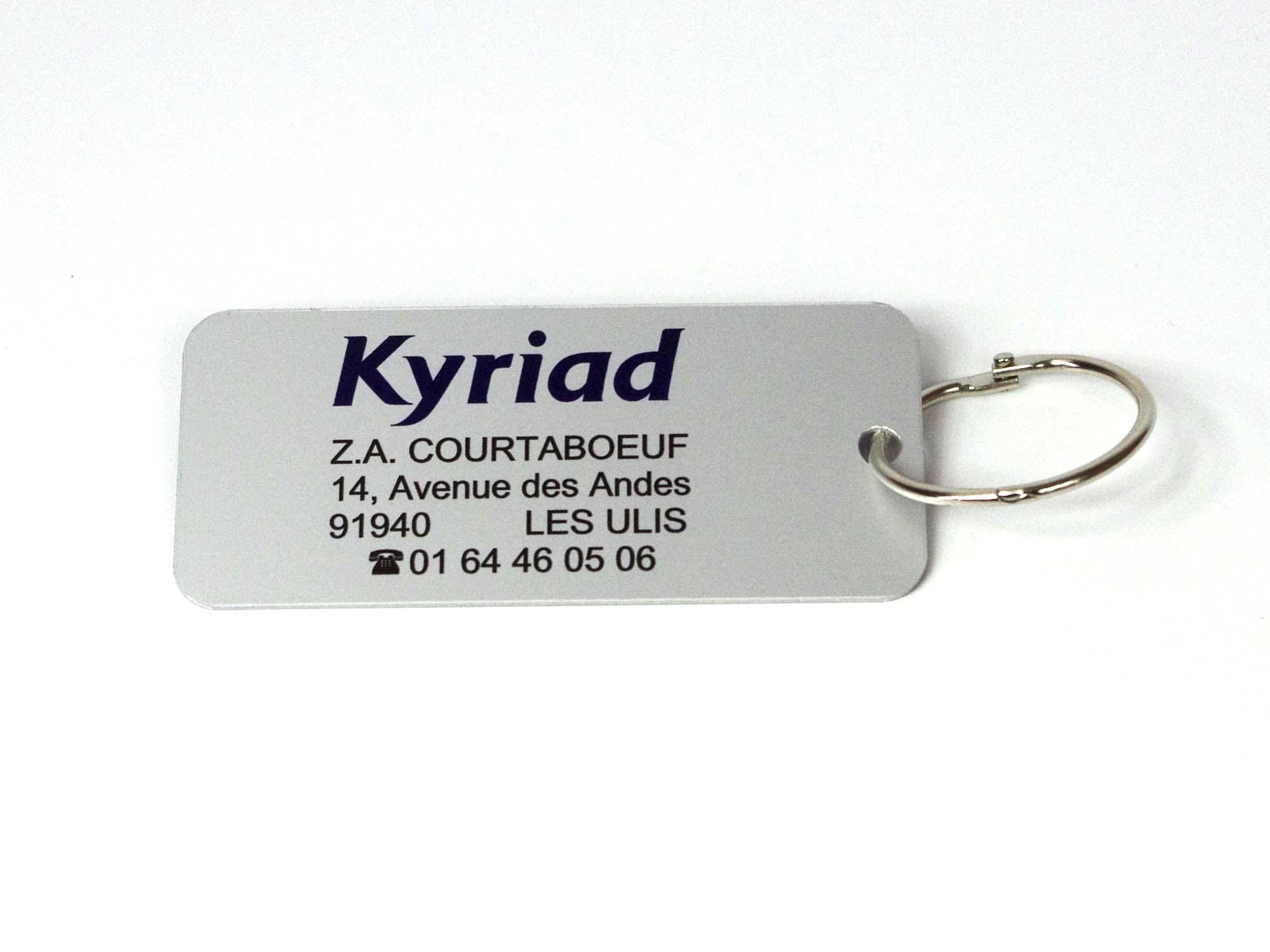 Porte clé personnalisé hôtel alu avec anneau