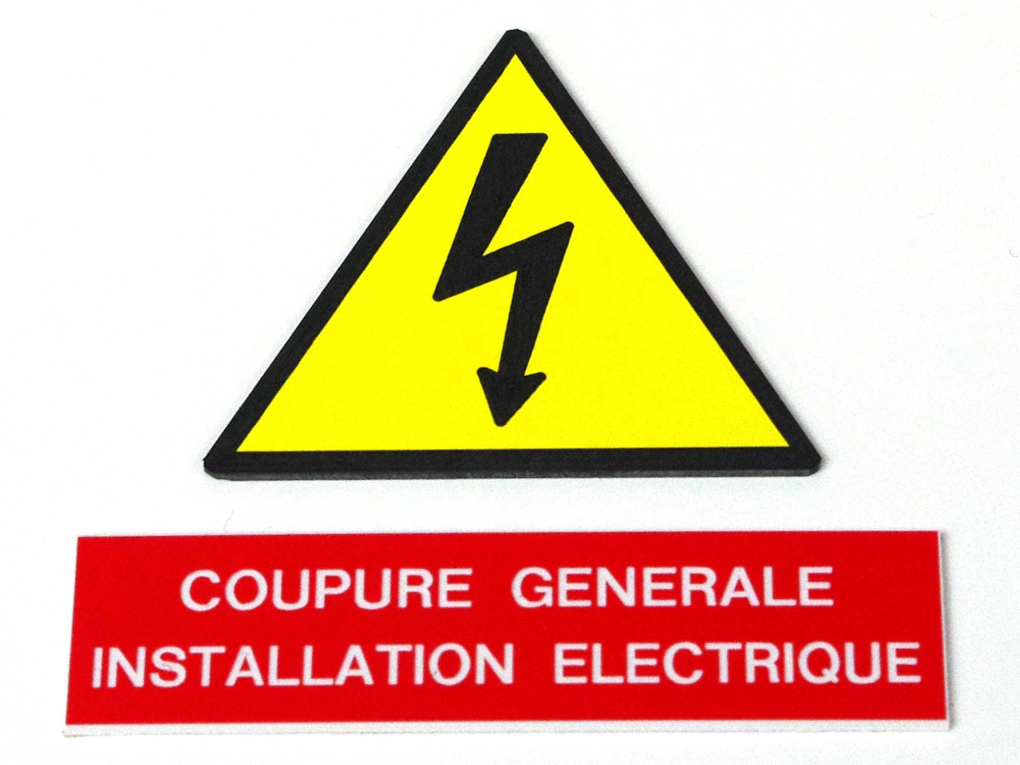 Plaque de sécurité attention installation électrique / danger électrique