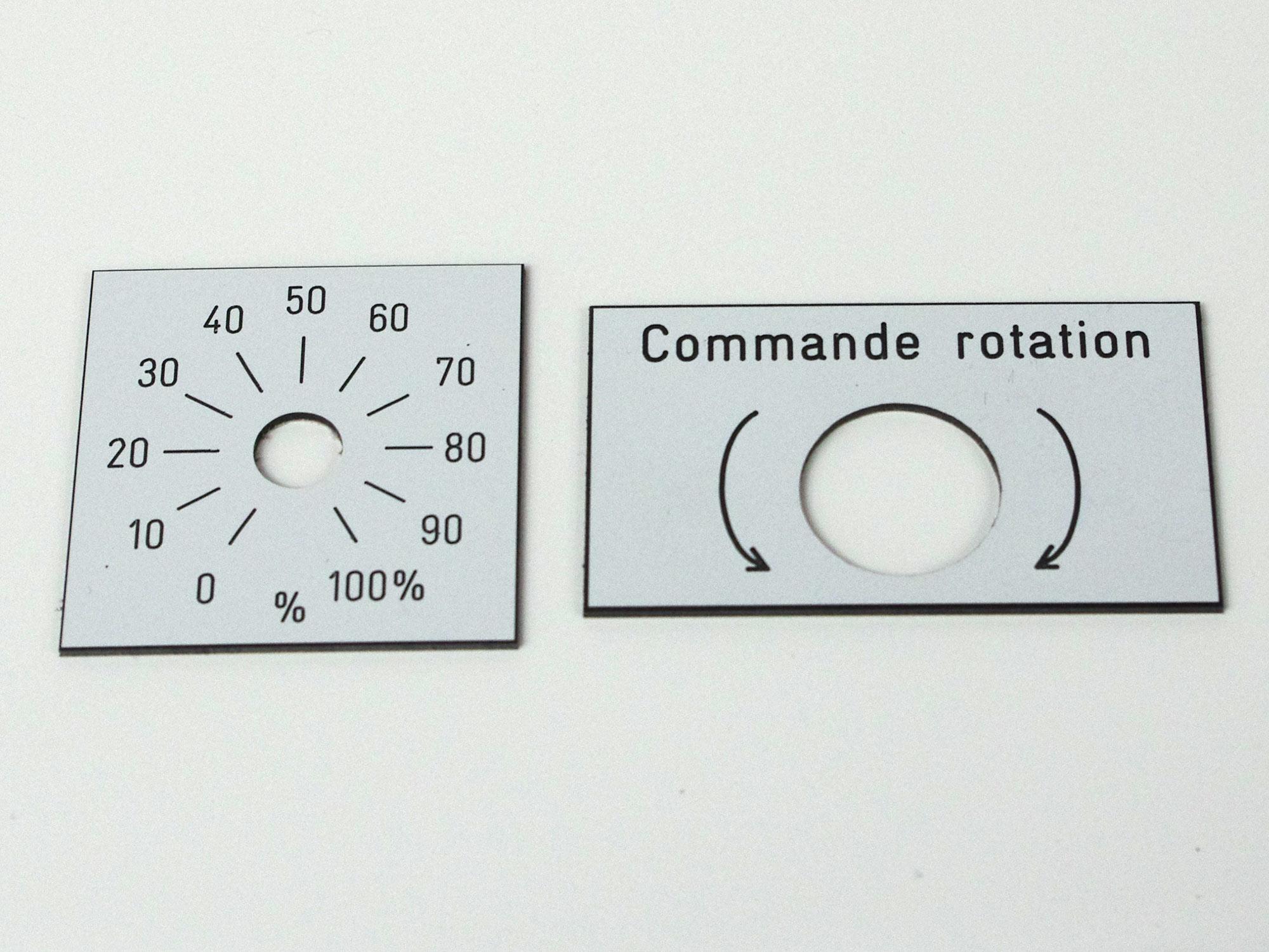 Plaque gravée commande rotation, outil de mesure, plaque gravée cadran